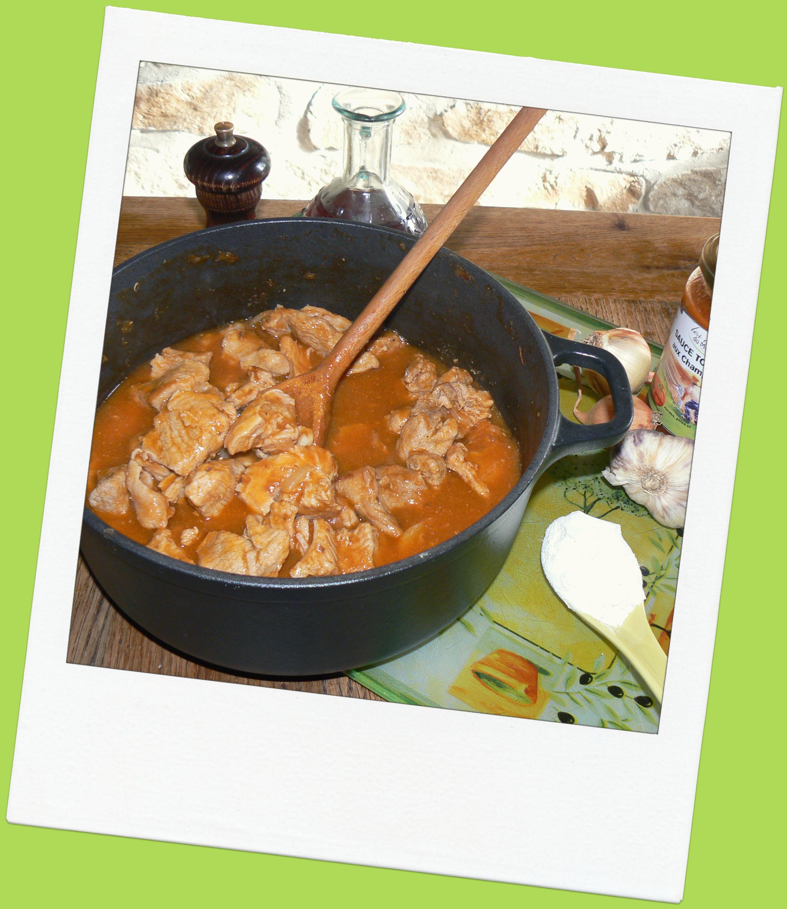recette veau sauce tomates aux champignons