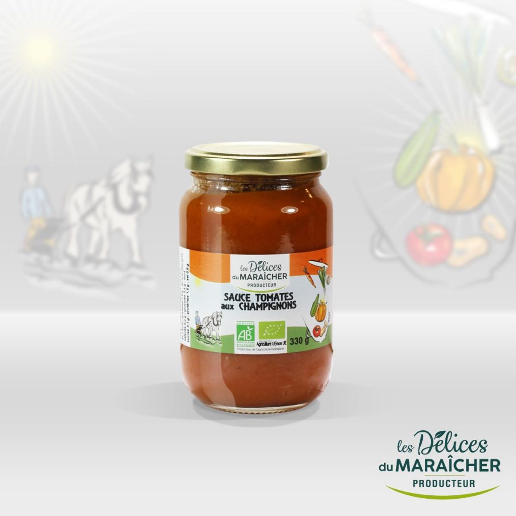 Sauce tomates Champignons conserves Soupes Bio Velouté AB Agriculture Biologique Les délices du maraîcher Ardèche